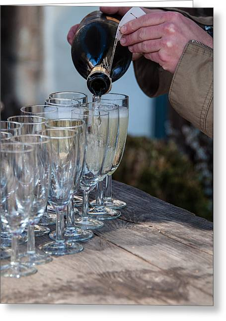 Prosecco Greeting Cards - Pouring Champagne Greeting Card by Frank Gaertner