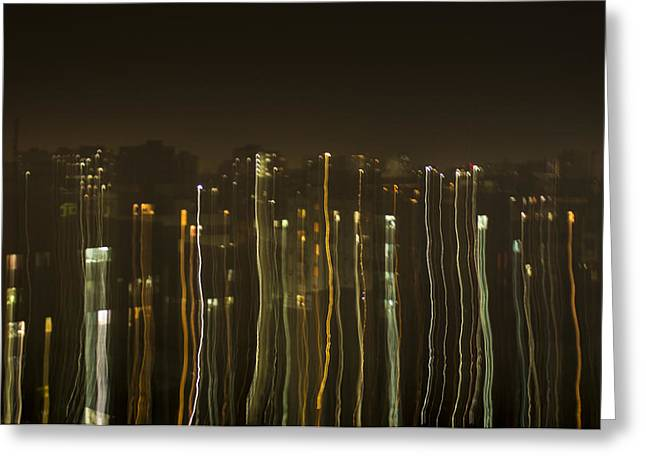City Lights Pyrography Greeting Cards - Pouring City Lights Greeting Card by Ashraful Karim