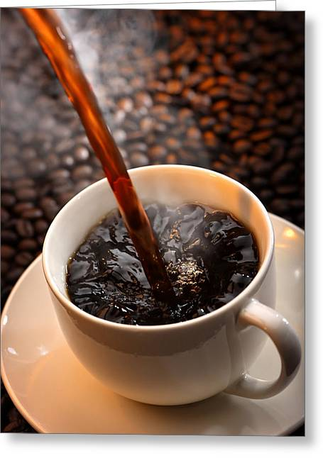 Refreshment Greeting Cards - Pouring Coffee Greeting Card by Johan Swanepoel