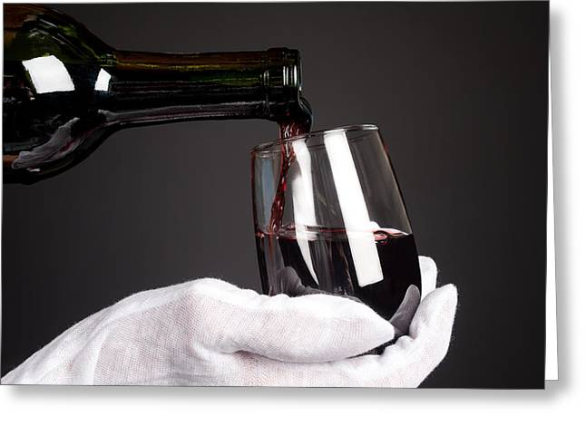 Pouring Wine Greeting Cards - Pouring glass of wine Greeting Card by Joe Belanger