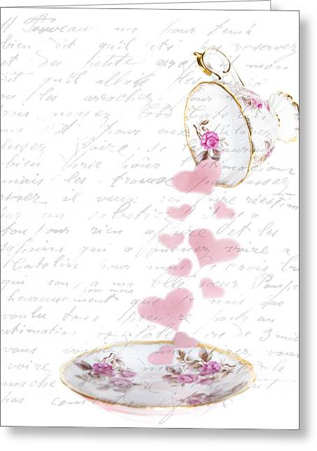 Script Photographs Greeting Cards - Pouring My Heart Out Greeting Card by Rebecca Cozart