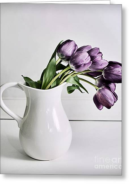 Susan M. Smith Greeting Cards - Pouring Purple Greeting Card by Susan Smith