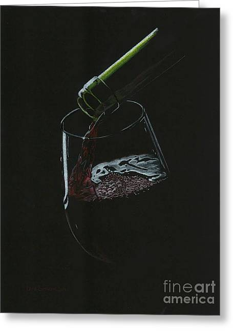 Wine-glass Drawings Greeting Cards - Pouring Red Greeting Card by Lana Bostrom