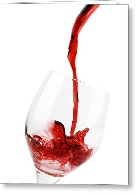 Red Wine Splash Greeting Cards - Pouring Red Wine Greeting Card by Chevy Fleet