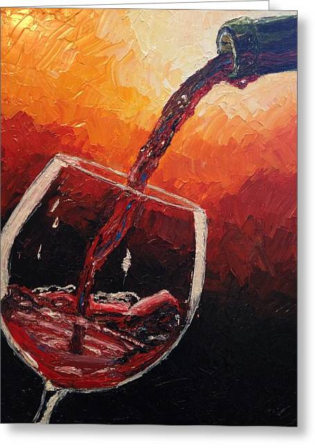 Wine Pour Paintings Greeting Cards - Pouring Red Wine Greeting Card by Eryn Tehan