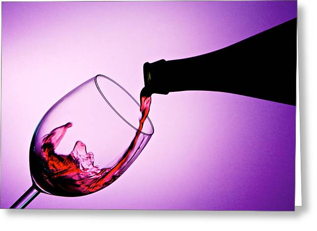 Pouring Wine Greeting Cards - Pouring red wine into a glass Greeting Card by Photo Kenzo
