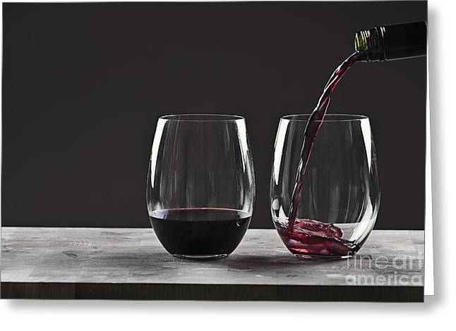 Wine Pour Greeting Cards - Pouring Red Wine Greeting Card by Justin Paget
