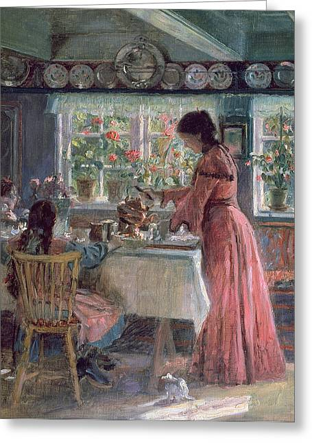 Coffee Table Greeting Cards - Pouring the Morning Coffee Greeting Card by Laurits Regner Tuxen
