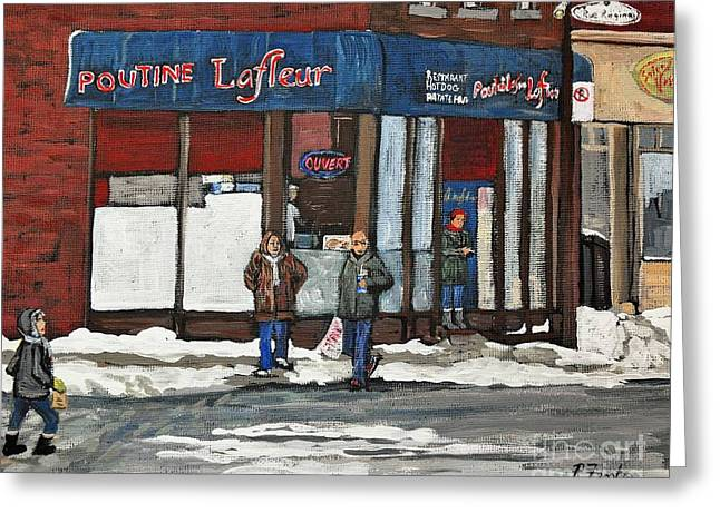 Verdun Restaurants Greeting Cards - Poutine Lafleur on Wellington Greeting Card by Reb Frost