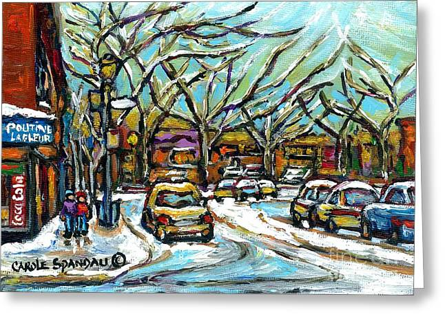 Verdun Restaurants Greeting Cards - Poutine Lafleur Verdun Winter City Scenes Montreal Art Urban Snowscene Best Canadian Paintings  Greeting Card by Carole Spandau