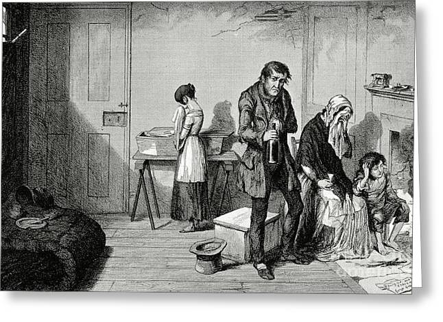 Alcoholism Greeting Cards - Poverty And Alcoholism, 1840s Greeting Card by British Library