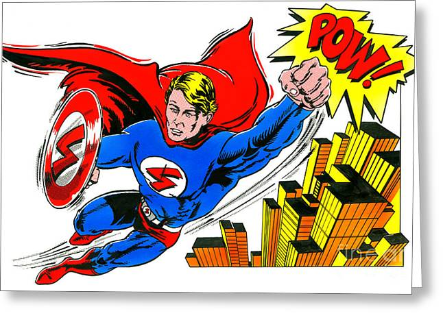 Superheroes Photographs Greeting Cards - Pow Greeting Card by John Reilly