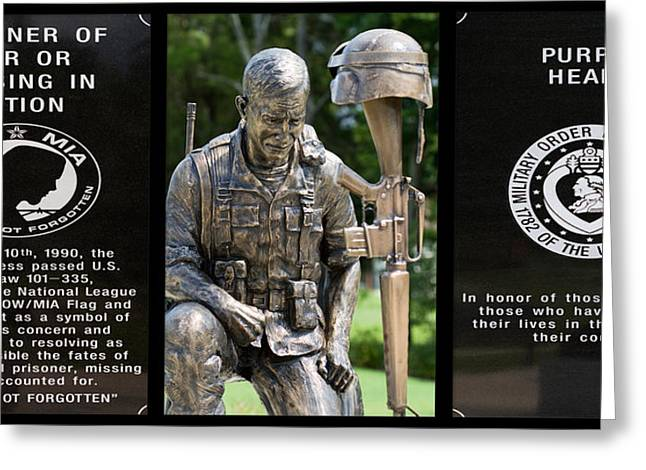 Recently Sold -  - Bravery Greeting Cards - POW - MIA - Purple Heart Soldier Memorial Greeting Card by Kathy Clark