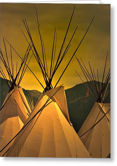 Tipis Greeting Cards - Pow Wow Camp at Sunrise Greeting Card by Kae Cheatham