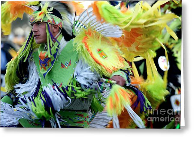 Oglala Greeting Cards - Pow Wow Dancer Greeting Card by Chris  Brewington Photography LLC
