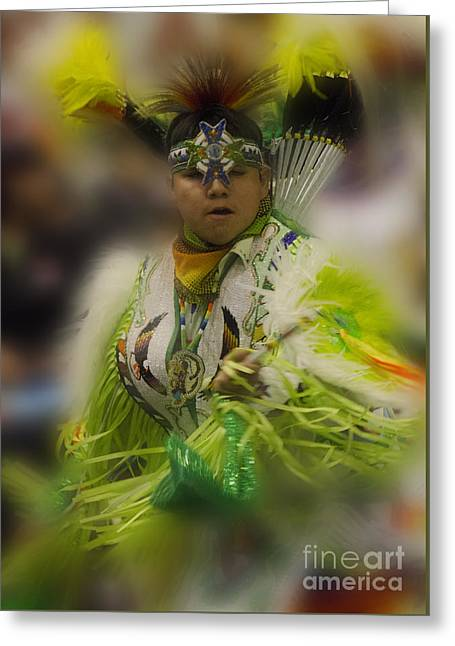 Pow Wow First Nations Into The Dance Greeting Card by Bob Christopher