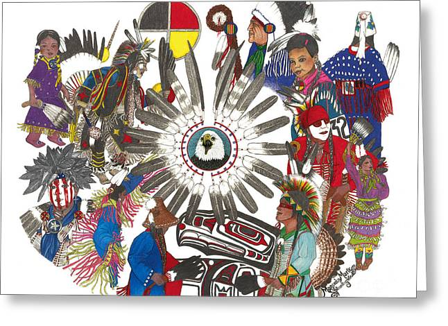 Pow Wow Honoring Greeting Card by Magenta Marie Spinningwind