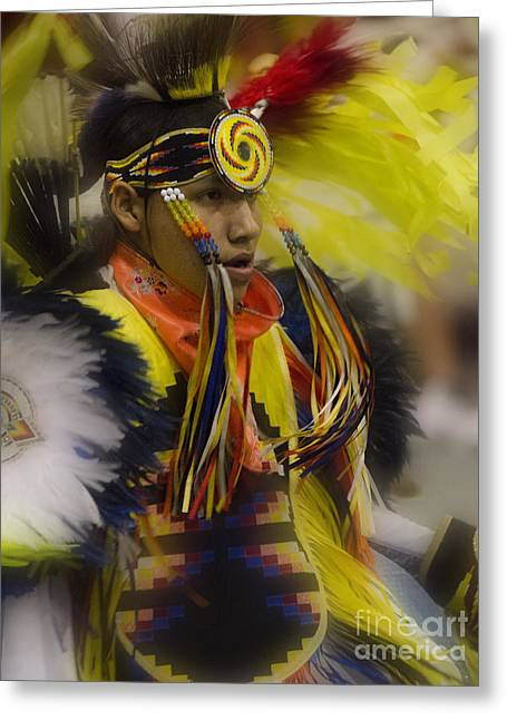 Fancy-dancer Greeting Cards - Pow Wow In Good Spirit Greeting Card by Bob Christopher