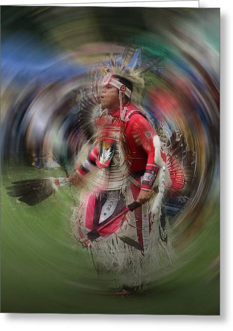 Powwow Greeting Cards - Pow Wow Indian Dancer No. 0169 Greeting Card by Randall Nyhof