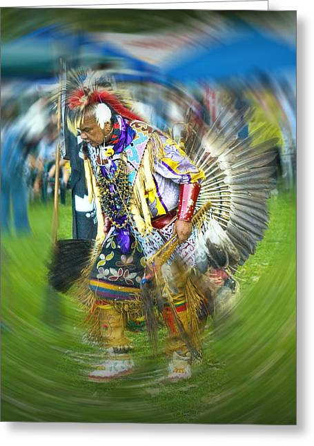 Powwow Greeting Cards - Pow Wow Indian Dancer No. 1152 Greeting Card by Randall Nyhof