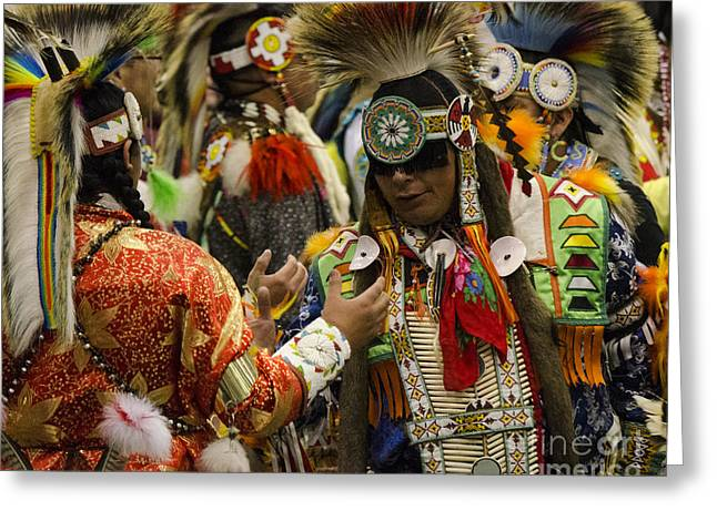 Fancy-dancer Greeting Cards - Pow Wow Where Friends Meet Once Again  Greeting Card by Bob Christopher