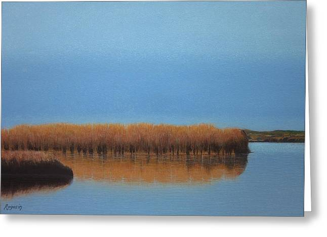 Cape Cod Pastels Greeting Cards - Powder Blue Marsh Greeting Card by Harvey Rogosin