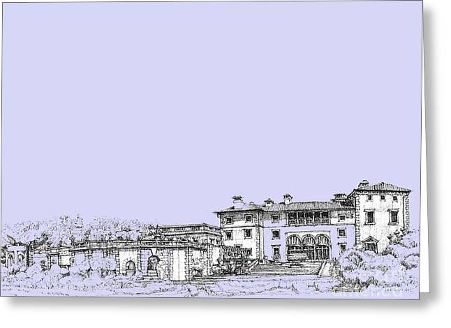 Detailed Ink Drawing Drawings Greeting Cards - Powder blue Vizcaya museum  Greeting Card by Building  Art
