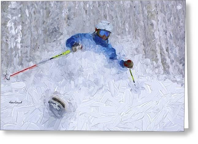 Ski Art Greeting Cards - Powder Crazy Greeting Card by Garland Johnson
