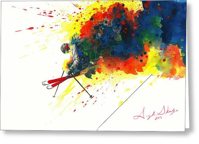 Ski Art Greeting Cards - Powder Jump Greeting Card by Angee Skoubye