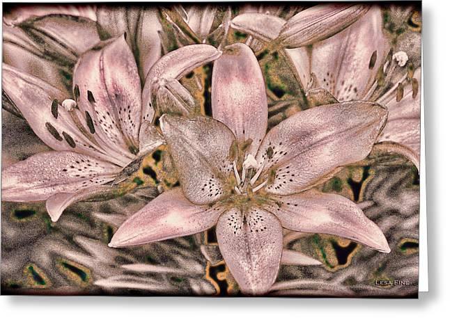 Stamen Digital Greeting Cards - Powder Pink Lillies Vintage Art Greeting Card by Lesa Fine