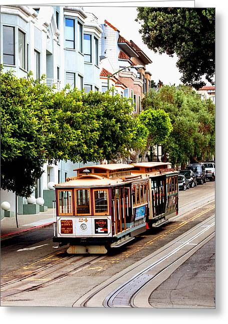 San Francisco Bay Greeting Cards - Powell and Market Line Greeting Card by Art Block Collections
