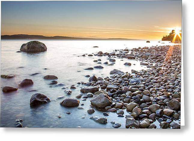 Powell River Sunset Greeting Card by Pierre Leclerc Photography