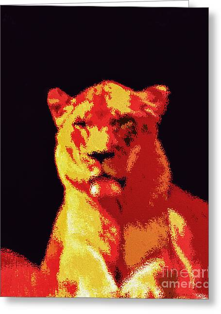 Lions Greeting Cards - Power and Grace Greeting Card by Tarik Eltawil