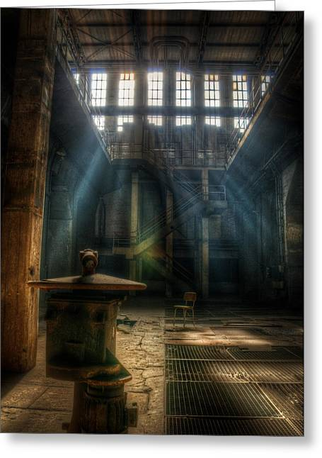 Power Plants Greeting Cards - Power beams Greeting Card by Nathan Wright