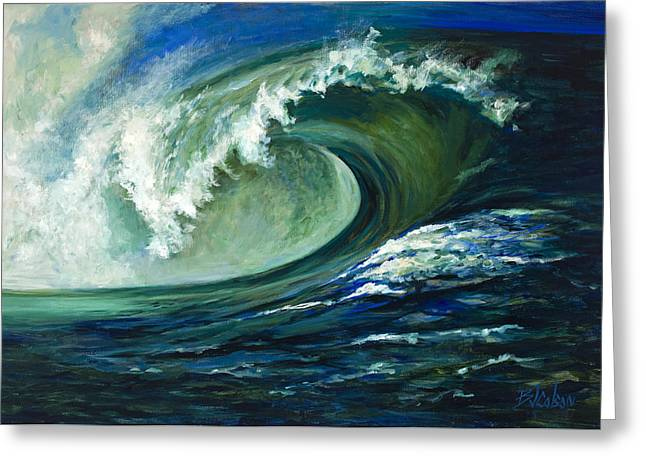 Surfing Art Greeting Cards - Power Greeting Card by Billie Colson