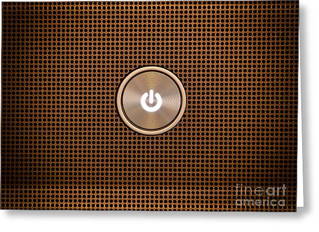 Technical Photographs Greeting Cards - Power button Greeting Card by Sinisa Botas