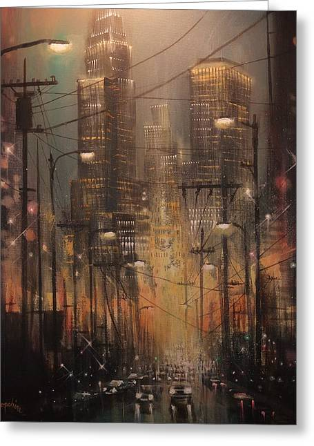 City Lights Greeting Cards - Power Center Greeting Card by Tom Shropshire