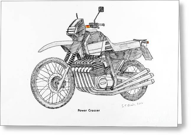 Transmission Drawings Greeting Cards - Power Crosser Greeting Card by Stephen Brooks