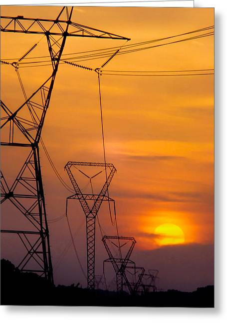 Electric Current Greeting Cards - Power Lines at Sunset Greeting Card by David and Carol Kelly