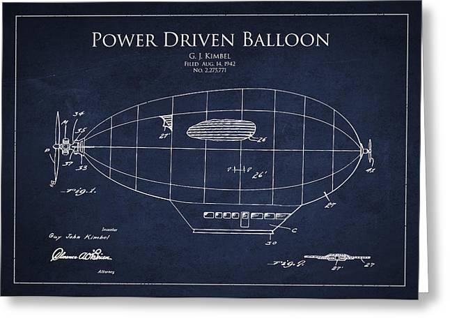 Power Driven Balloon Patent Greeting Card by Aged Pixel