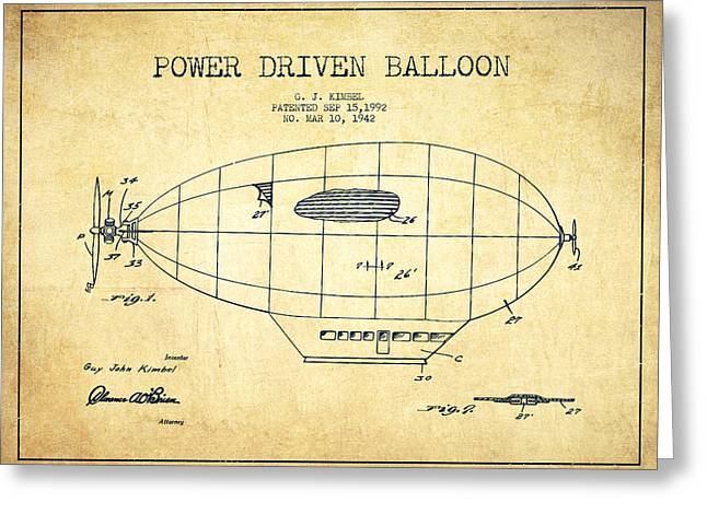 Airships Greeting Cards - Power Driven Balloon Patent-Vintage Greeting Card by Aged Pixel