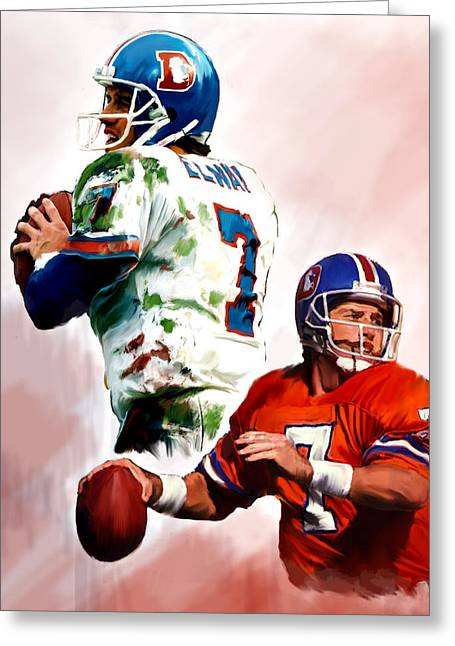 Elway Greeting Cards - Power Force John Elway Greeting Card by Iconic Images Art Gallery David Pucciarelli