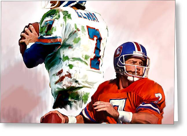 Power Force John Elway Greeting Card by Iconic Images Art Gallery David Pucciarelli