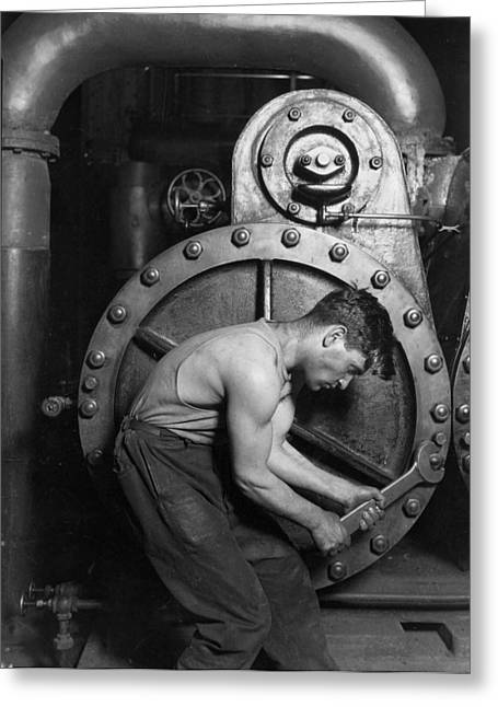 Sweating Photographs Greeting Cards - Power House Mechanic 1920 Greeting Card by Mountain Dreams