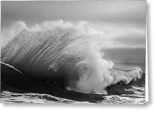 California Beach Art Greeting Cards - Power in the Wave BW By Denise Dube Greeting Card by Denise Dube