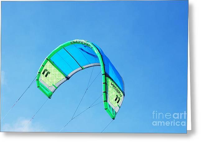 Kite Boarding Greeting Cards - Power Kite Greeting Card by DejaVu Designs