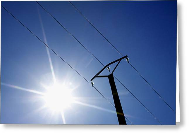Dazzled Greeting Cards - Power line Greeting Card by Bernard Jaubert