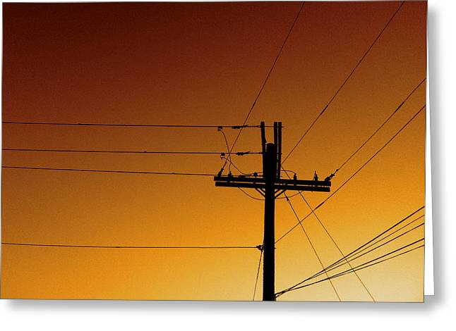 Electrical Greeting Cards - Power Line Sunset Greeting Card by Don Spenner