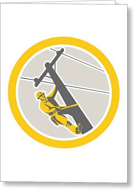Repaired Digital Art Greeting Cards - Power Lineman Repairman Climbing Pole Circle Greeting Card by Aloysius Patrimonio