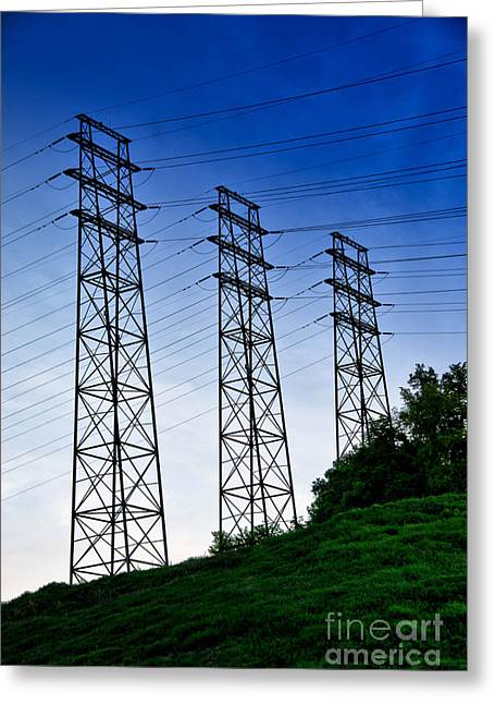 Line Greeting Cards - Power lines Greeting Card by Amy Cicconi